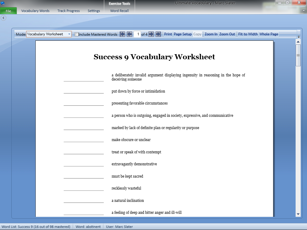 Vocab1 Vocabulary Building Software – Vocabulary Builder Worksheets