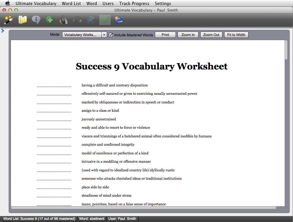 vocab1 vocabulary building software print worksheets. Black Bedroom Furniture Sets. Home Design Ideas